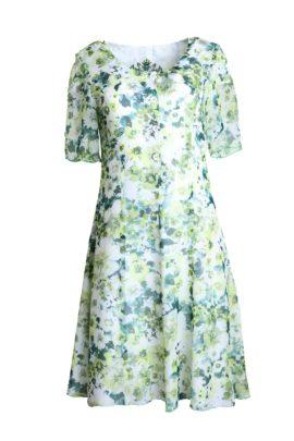 Dress,flower, pure silk, floral print, marigreen-white