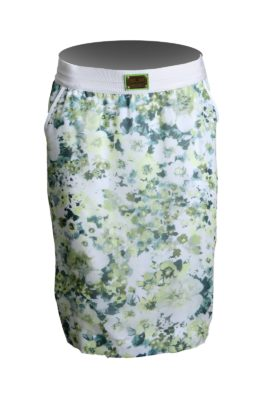 Skirt flower with floral print, marigreen-white