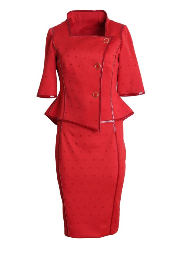 Costume, with tone-in-tone-embroidery, flamingo-red