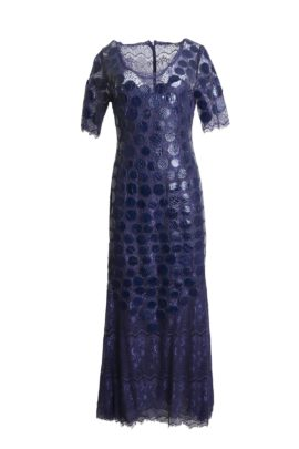 Evening dress, lace with croco patches and crystals by Svarowski, navy