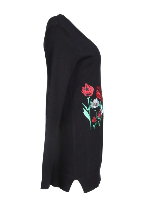 Sweater Sommerwiese, black with Sommerwiese embroidery