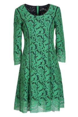 Dress, emerald bobinet lace with black contrast stitching