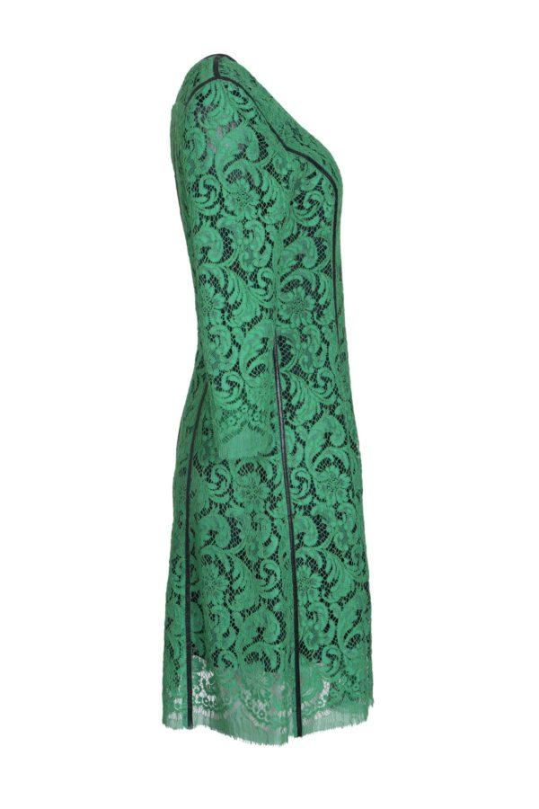 Dress, emerald bobinet lace with black contrast stitching