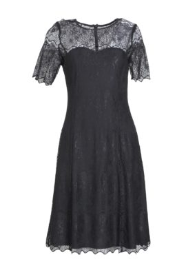 Dress, elastic lace, black