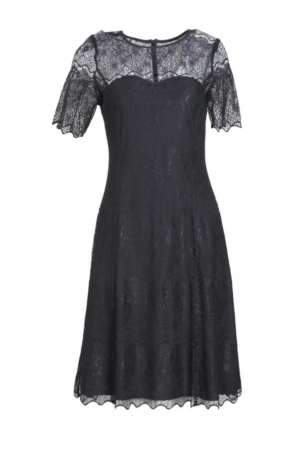 Dress, elastic lace, black