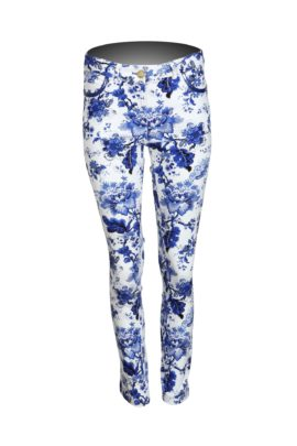 Jeans, with paisley pattern, ecru royal blue