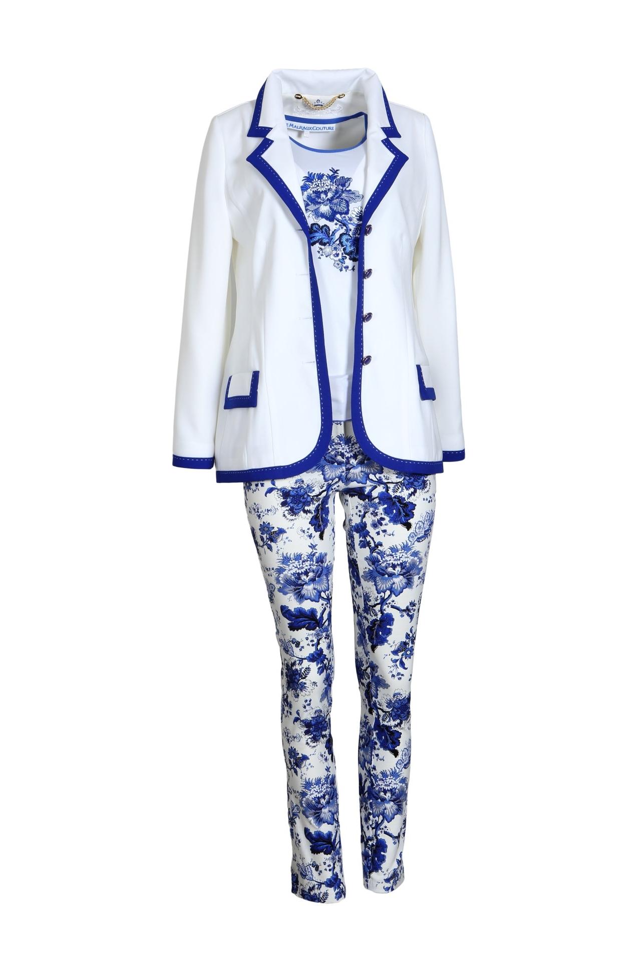 Longblazer, ecru royal blue, set in block contrast