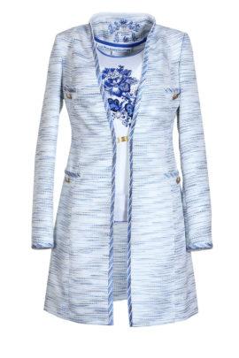 Longblazer, Boucle, ecru royal blue