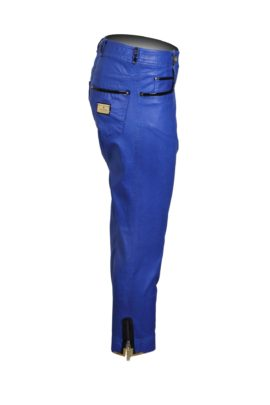 Jeans, royal blue, with lacquer applications in nappa look