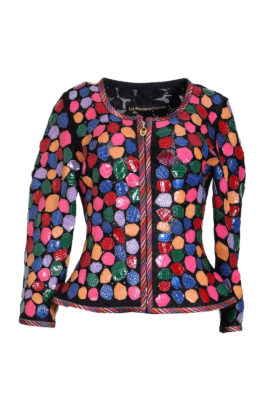 Jacket made of elastic lace with multicolor croco leather patches