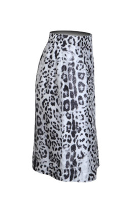 Wrap skirt Leo-Print, white-black, pure silk
