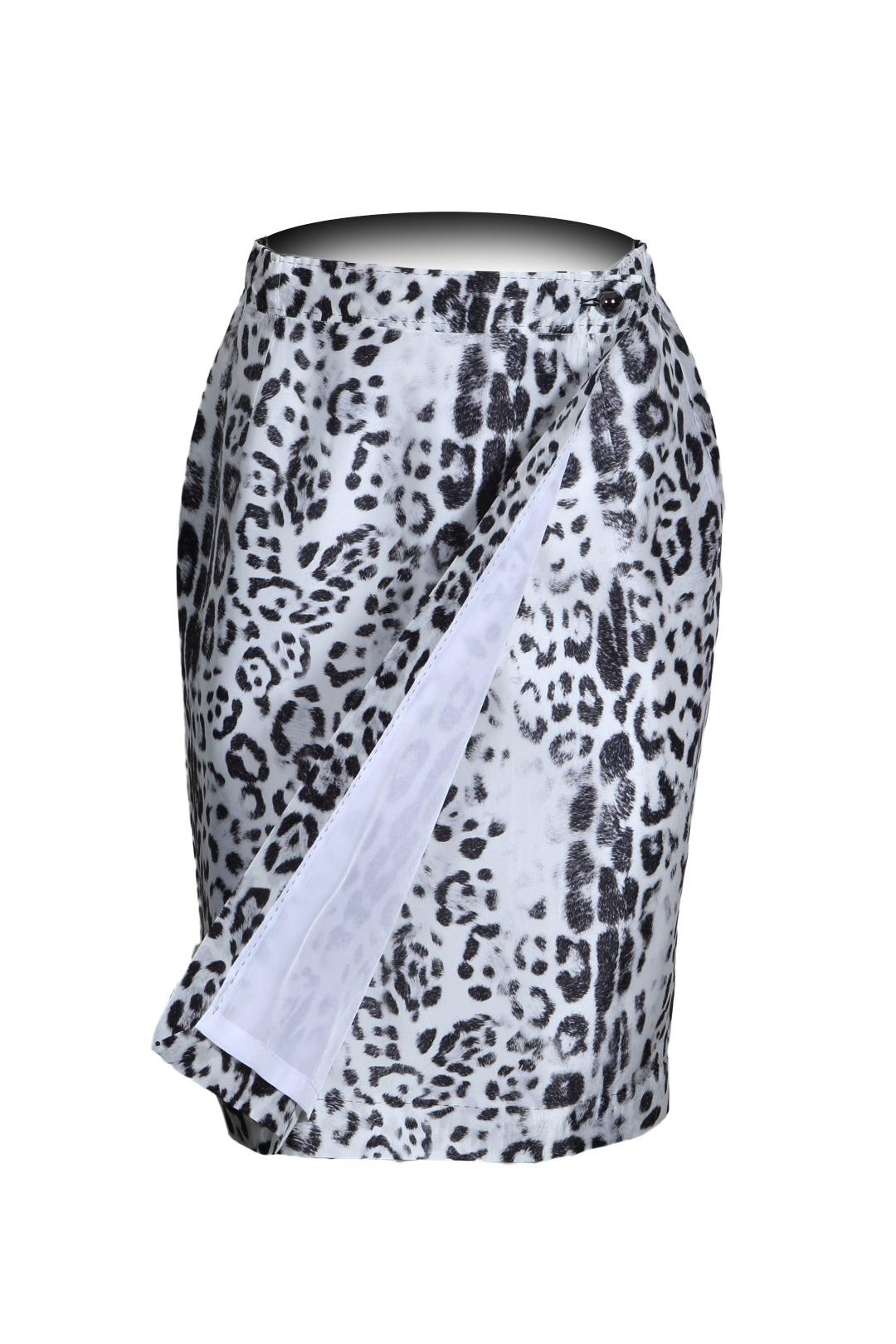 Wrap skirt Leo-Print, white-black, pure silk