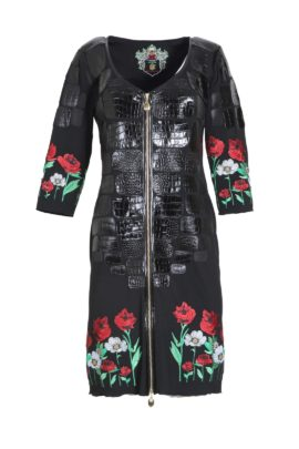 Dress, black, summer meadow, embroidery