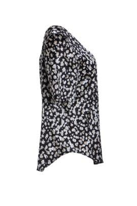 Blouse black - beige Modern Print, pure silk