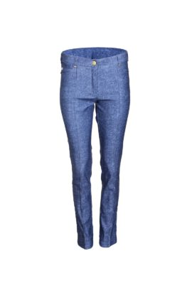 Jersey jeans, with gold studs in diamond style, denim look