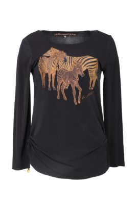 Shirt with zebra embroidery, 7/8 sleeves