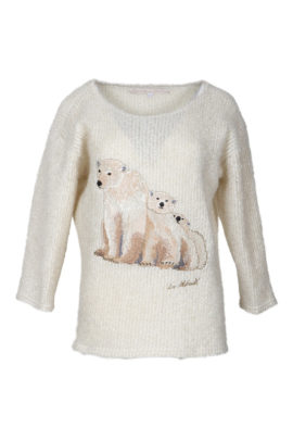 Oversize sweater with Alaska-embroidery, ecru-beige