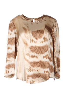 Blouse, animal-print, champagne