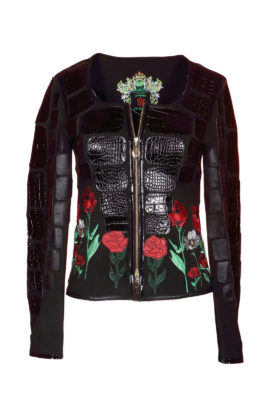 Croco jacket, black with summer meadow- embroidery