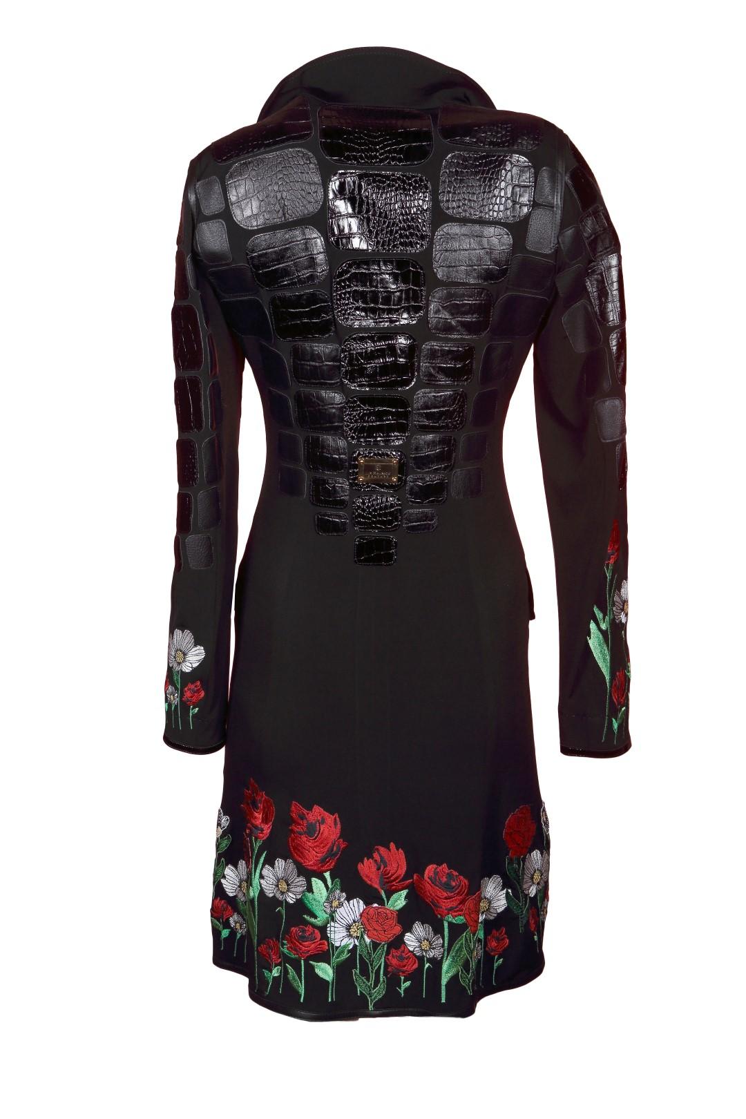 Croco jacket, aqua with black contrasts