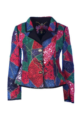 Blazer, multicolor, lace patchwork