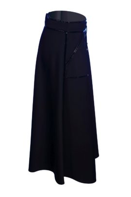 Maxi skirt, trap net with lacquer applications, black