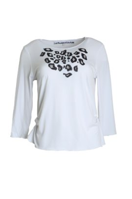 Shirt white-black, with Leo-embroidery