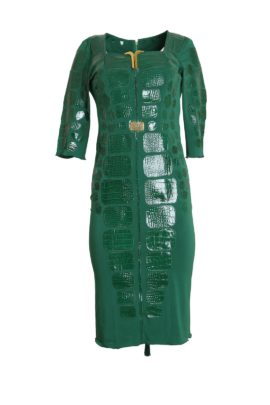 Croco dress with maxi zip and multi-patches