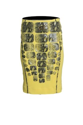 Croco skirt Grand Prix with multipatches, yellow
