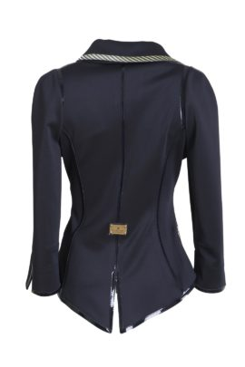 Jacket Grand Prix with classic-embroidery asymmetrical, navy-yellow