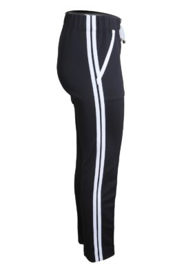 Trousers with double border and pockets, black and white