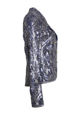 Peacock sequined jacket with embroidered border, navy-gold