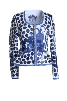 Croco jacket with still- life- embroidery white navy