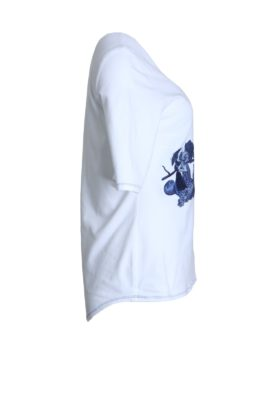 Shirt with still-life-embroidery, white-navy