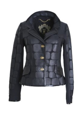 Croco jacket with patent contrast, matt, black, patche