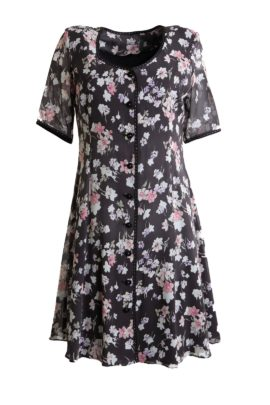 Dress, pure silk with floral print, border