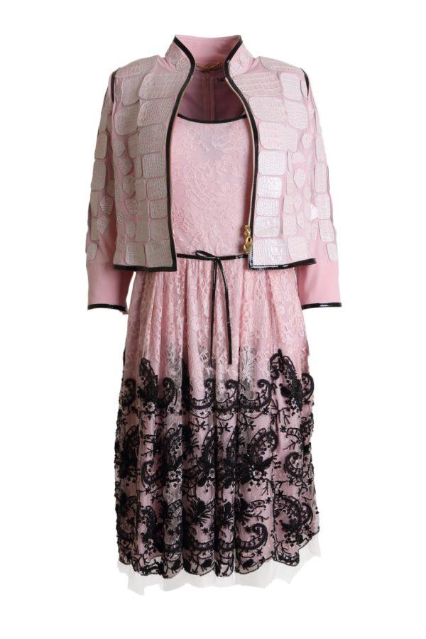 Cocktail dress, rosenquarz-black, lace: Riechers Marescot