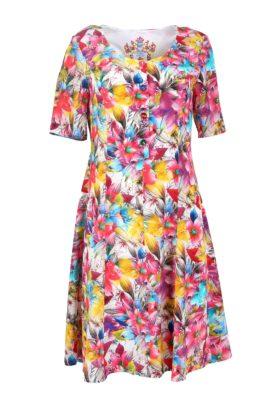 Dress blossom, multicolor, pure silk