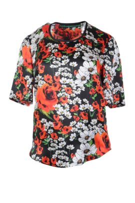 Blouse with summer meadow- print
