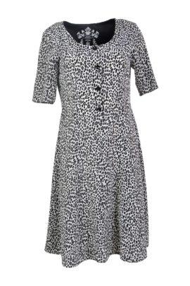 Dress with mini leo print, black-white, pure silk