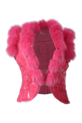 Fox vest with croco patches, flamingo-red