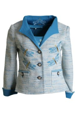 Boucl� jacket with contrasts and Dragon Fly-embroidery
