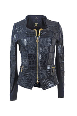 Croco jacket dark navy and gold-corners