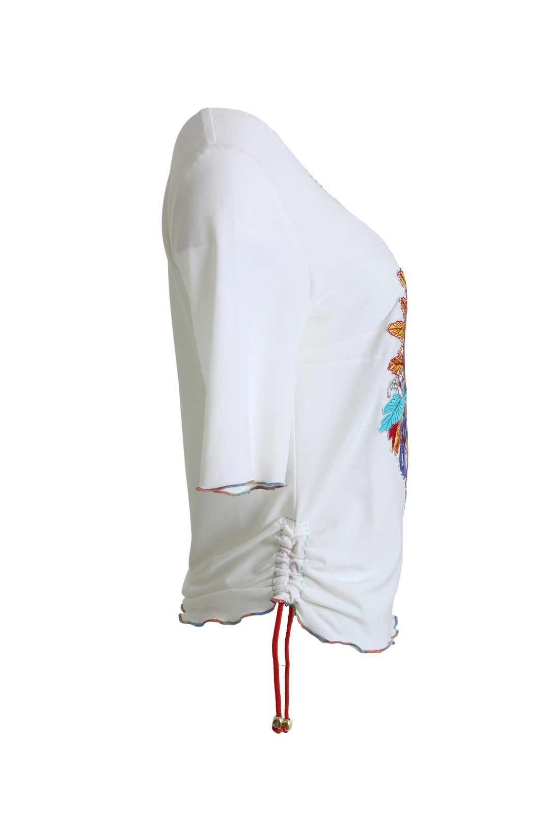 Shirt with multicolor blossom-embroidery white