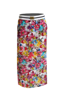 Maxi skirt blossom, pure silk, multicolor