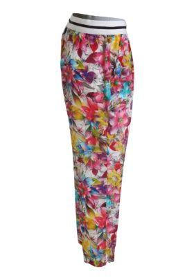 Trousers blossom, pure silk, multicolor