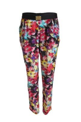 Trousers blossom, pure silk, multicolor black