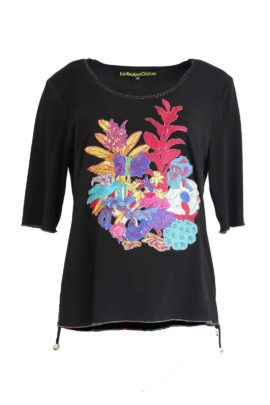Shirt with multicolor blossom-embroidery black