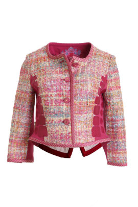 Jacket, boucl�, silk/cotton, with diamond patches, multicolor fuchsia