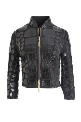 Black Spencer jacket croco black